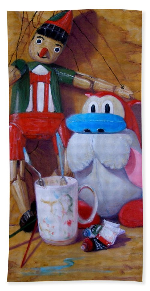 Realism Beach Towel featuring the painting Friends 2 - Pinocchio And Stimpy  by Donelli DiMaria