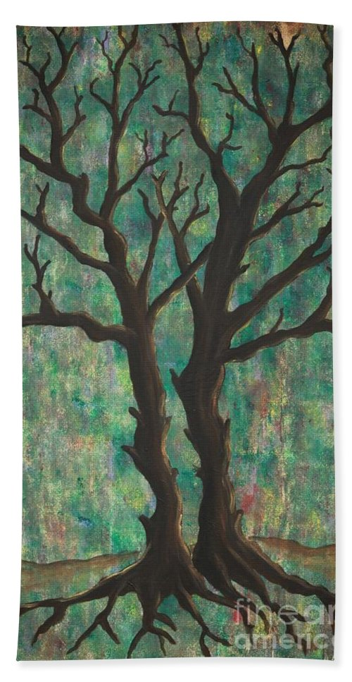 Trees Beach Towel featuring the painting Friends by Jacqueline Athmann