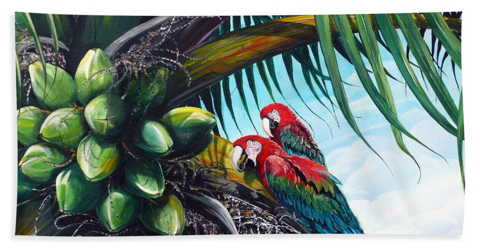 Macaws Bird Painting Coconut Palm Tree Painting Parrots Caribbean Painting Tropical Painting Coconuts Painting Palm Tree Greeting Card Painting Beach Sheet featuring the painting Friends Of A Feather by Karin Dawn Kelshall- Best