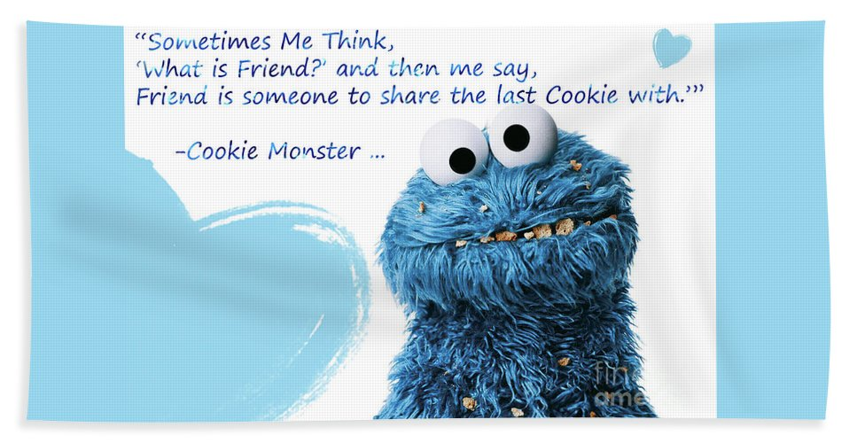 Friendship Is.. - Cookie Monster Cute Friendship Quotes.. 2 Beach Towel