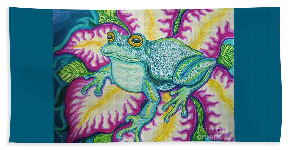 Frog And Flower Art Beach Towel featuring the drawing Frog And Flower by Nick Gustafson