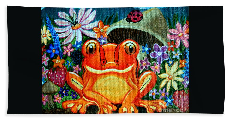Frogs Beach Towel featuring the painting Frog And Flowers by Nick Gustafson