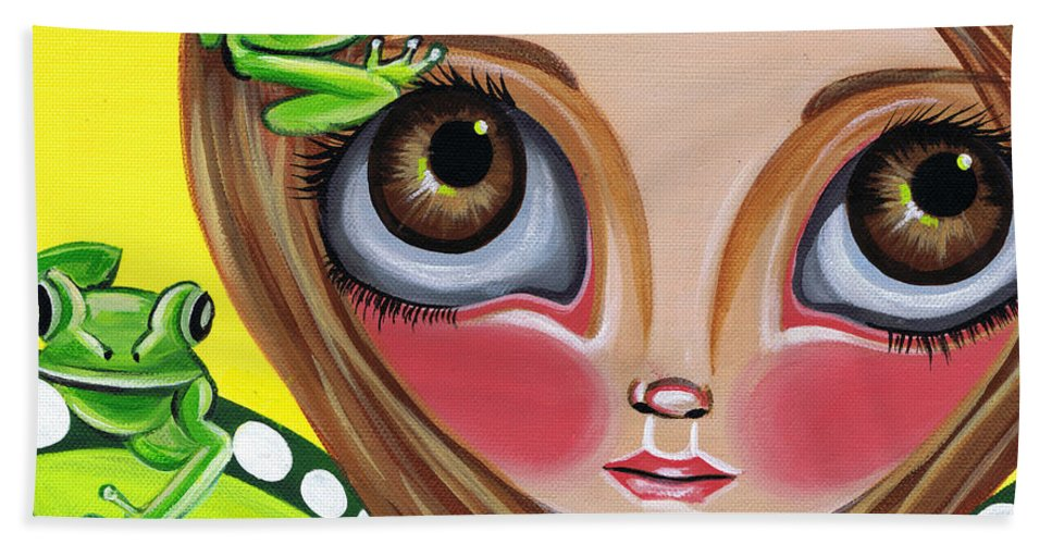 Frog Beach Towel featuring the painting Frog Fairy by Jaz Higgins