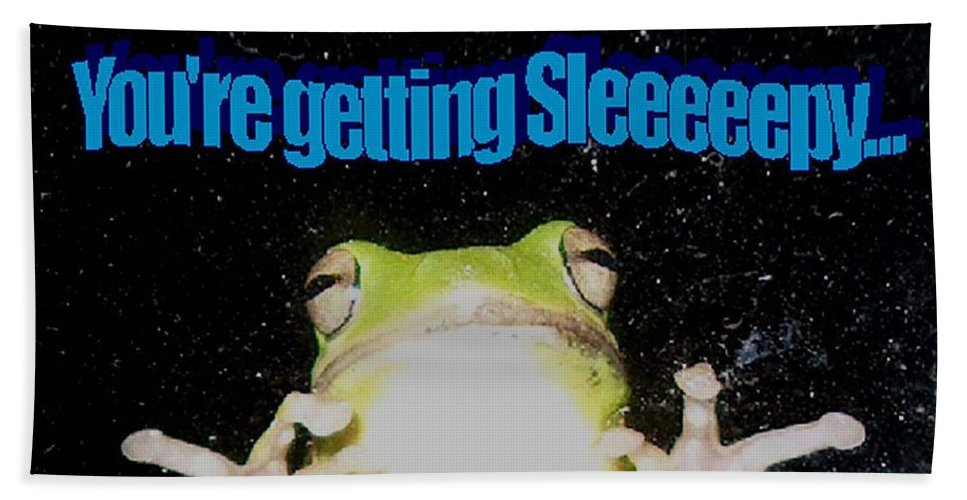 Photography Beach Towel featuring the photograph Frog You're Getting Sleeeeeeepy by Bertie Edwards