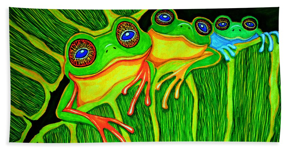 Frog Art Beach Towel featuring the drawing Froggie Trio by Nick Gustafson
