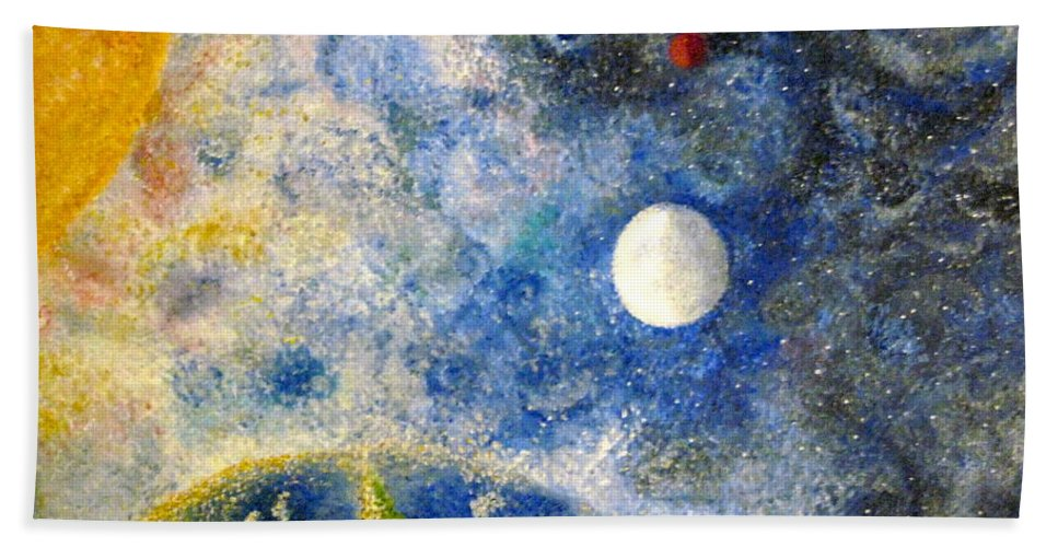 Pointillism Beach Towel featuring the painting From A Distance by Tina Swindell