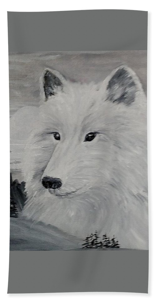 White Wolf Beach Towel featuring the painting From The Mist Of The Moon by Sandra Maddox