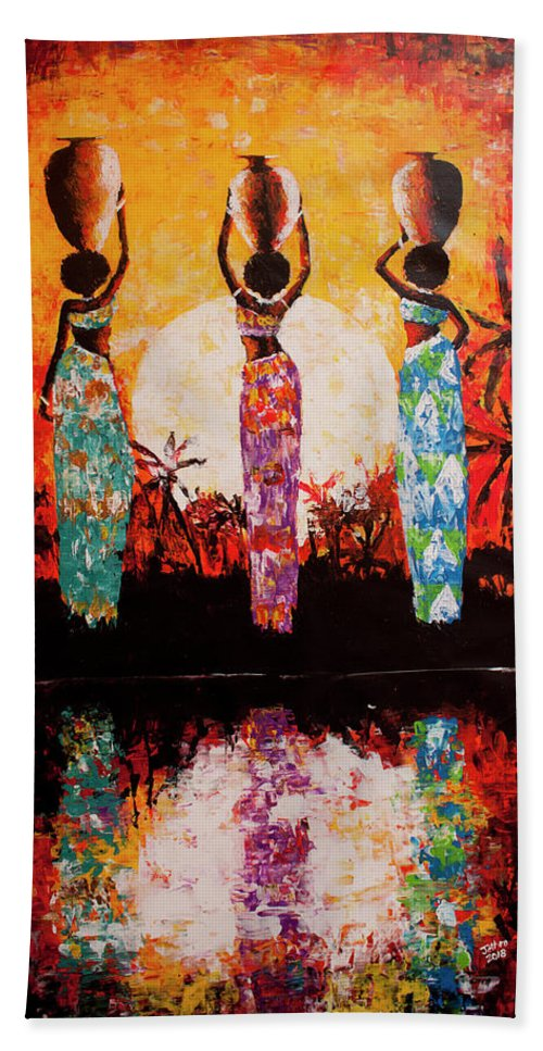 African Art Beach Towel featuring the painting From The River by Jethro Longwe