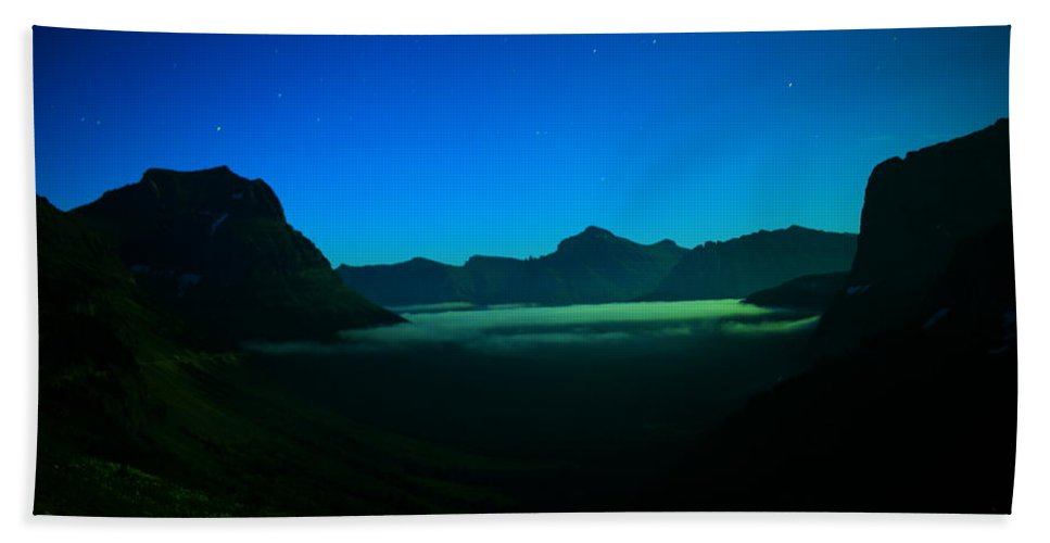 Outdoors Beach Towel featuring the photograph From The Top Of Logan Pass In The Early Morning by Jeff Swan