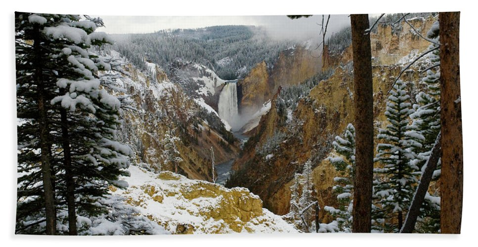 Yellowstone Beach Towel featuring the photograph Frosted Canyon by Steve Stuller