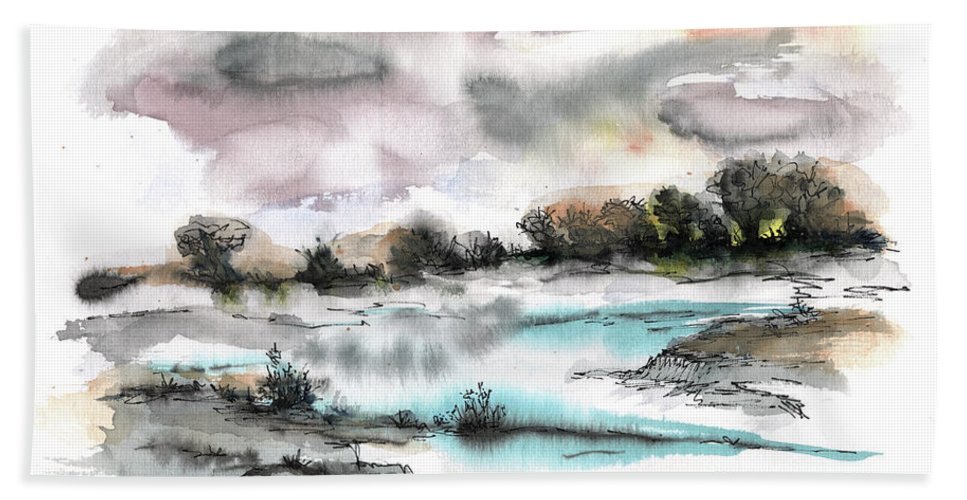 Abstract Landscape Beach Towel featuring the painting Frozen river by Aniko Hencz