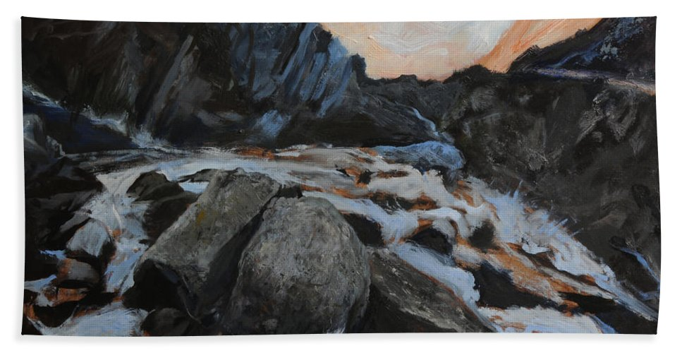 Landscape Beach Towel featuring the painting Frozen Waterfall by Harry Robertson