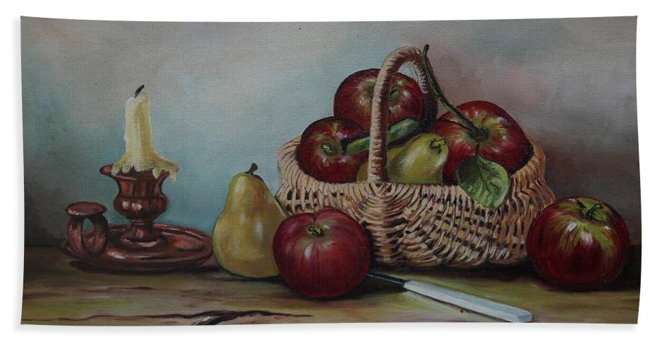 Fruit Basket Beach Sheet featuring the painting Fruit Basket - Lmj by Ruth Kamenev