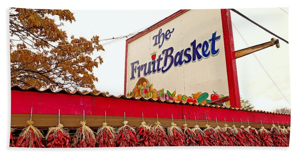 Fruit Basket Beach Towel featuring the photograph Fruit Basket Stand by Robert Meyers-Lussier