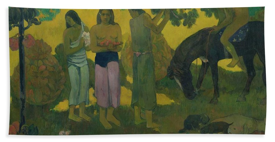 Rupe Rupe (fruit Gathering) Beach Towel featuring the painting Fruit Gathering by Paul Gauguin