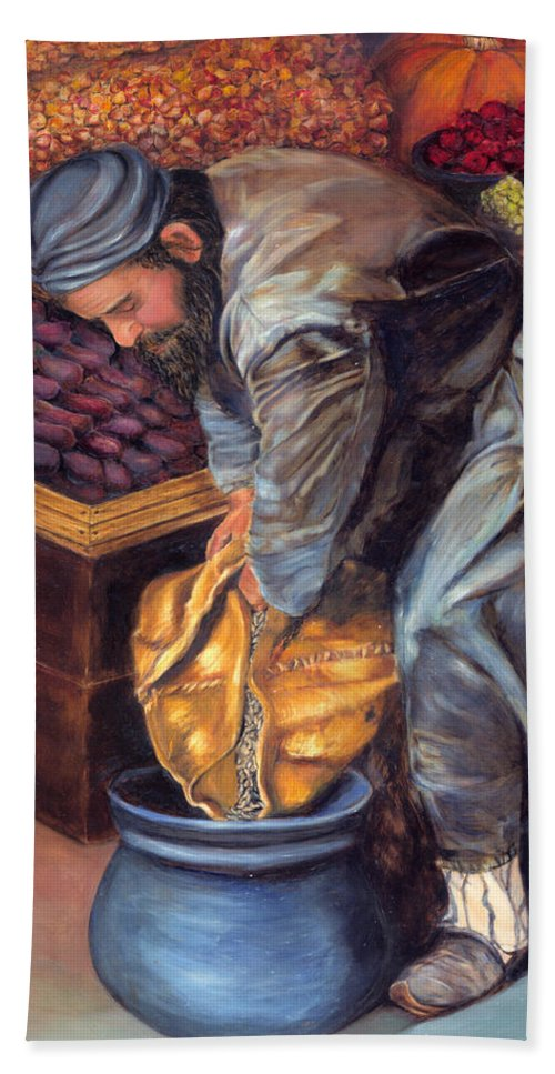 Figurative Painting Beach Towel featuring the painting Fruit Vendor by Portraits By NC