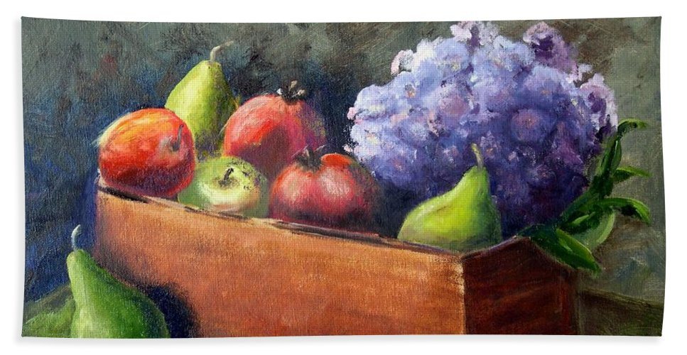 Hydrangea Beach Towel featuring the painting Fruit With Hydrangea by Patricia Caldwell