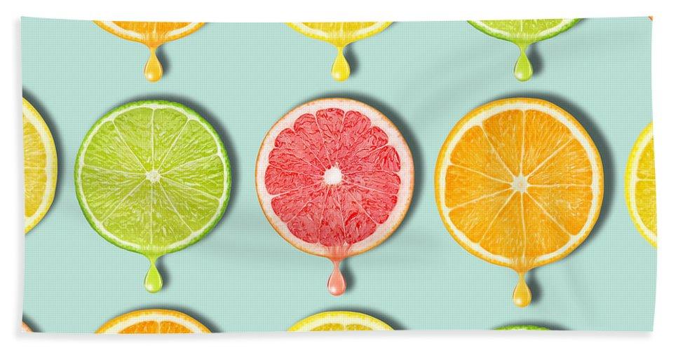 Grapefruit Beach Towel featuring the digital art Fruity by Mark Ashkenazi