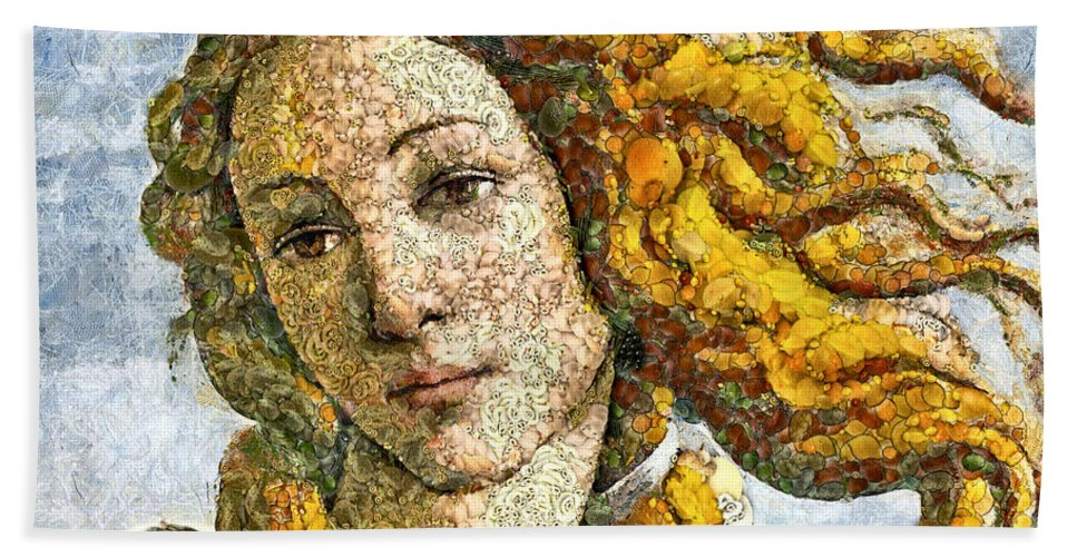 Venus Beach Towel featuring the mixed media Fruity Venus I Am So Sorry Mr Boticelli by Georgiana Romanovna