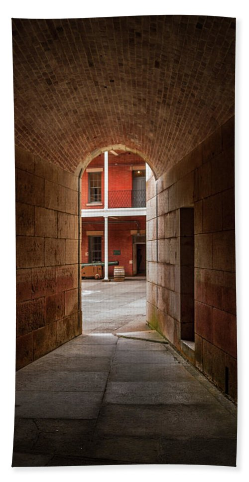 Architecture Beach Towel featuring the photograph Ft. Point Hallway by Bill Gallagher