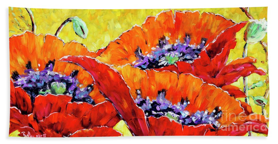 Prankearts Beach Towel featuring the painting Full Bloom Poppies By Prankearts Fine Art by Richard T Pranke