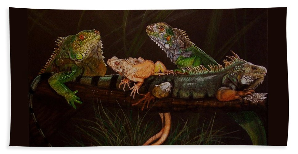 Iguana Beach Towel featuring the drawing Full House by Barbara Keith