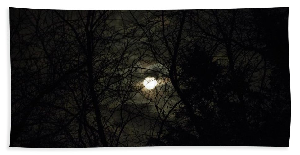 Moon Beach Towel featuring the photograph Full Moon In February by Rebecca Pavelka