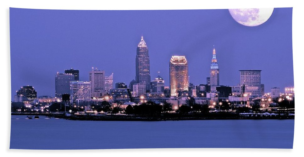 Full Beach Towel featuring the photograph Full Moon Over Cleveland by Frozen in Time Fine Art Photography
