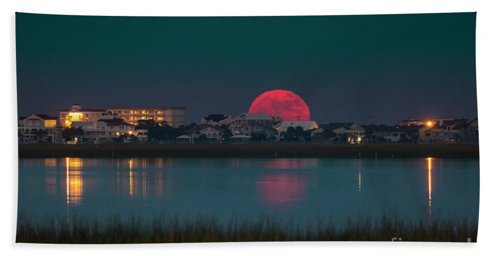 Full Moon Beach Towel featuring the photograph Full Moon rising by Matthew Trudeau