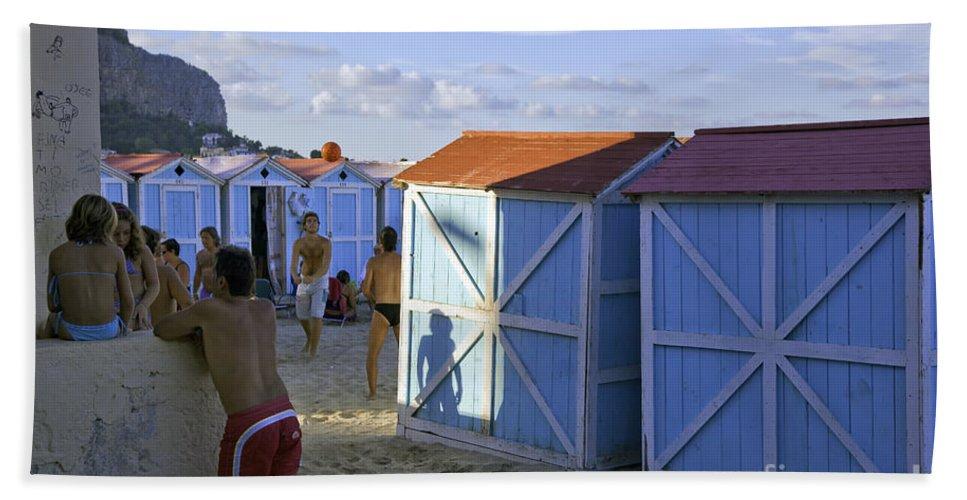 Cabana Beach Towel featuring the photograph Fun At Mondello Beach by Madeline Ellis