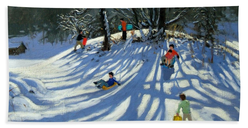 Winter Beach Towel featuring the painting Fun In The Snow by Andrew Macara