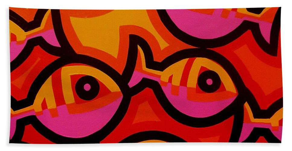 Fish Beach Towel featuring the painting Funky Fish Iv by John Nolan
