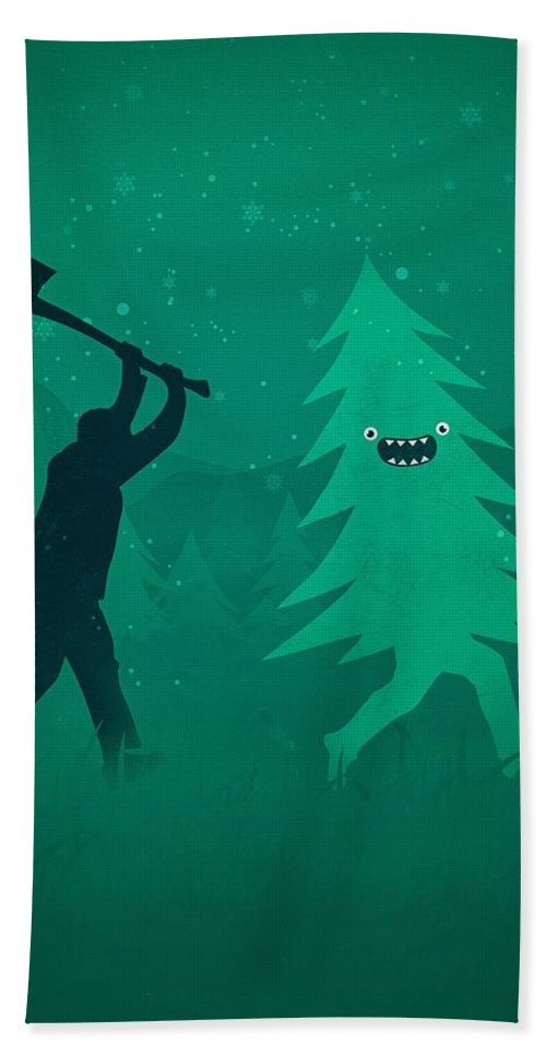 Cute Beach Towel featuring the digital art Funny Cartoon Christmas tree is chased by Lumberjack Run Forrest Run by Philipp Rietz