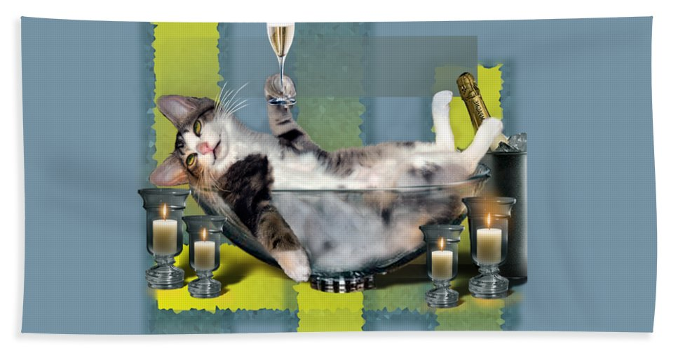 Funny Pet Print Beach Towel featuring the painting Funny pet print with a tipsy kitty by Regina Femrite