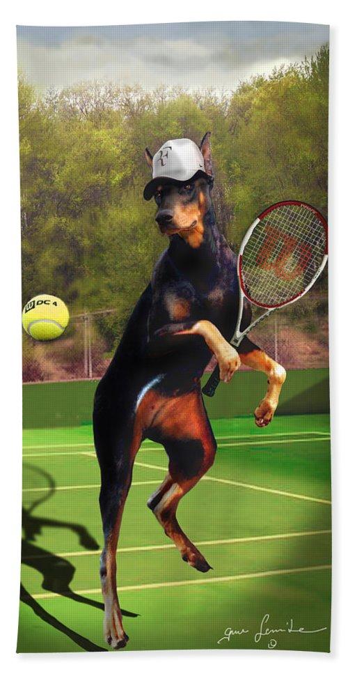 Fine Art Beach Towel featuring the painting funny pet scene tennis playing Doberman by Regina Femrite