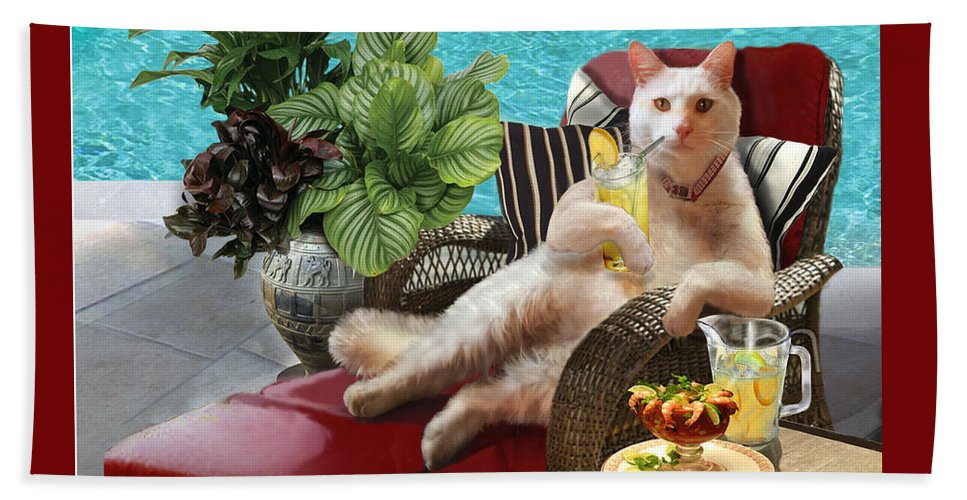 Funny Cat Picture Beach Towel featuring the painting Funny Pet Vacationing Kitty by Regina Femrite