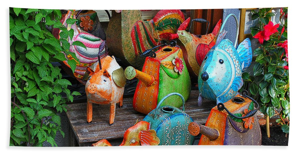 Watering Can Beach Towel featuring the photograph Funny Watering Cans by Jutta Maria Pusl