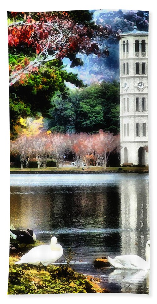 Watercolor Beach Towel featuring the painting Furman University Bell Tower by Lynne Jenkins