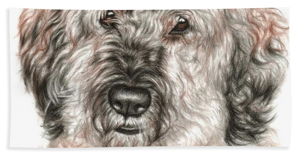 Dog Beach Towel featuring the drawing Furry Friend by Nicole Zeug