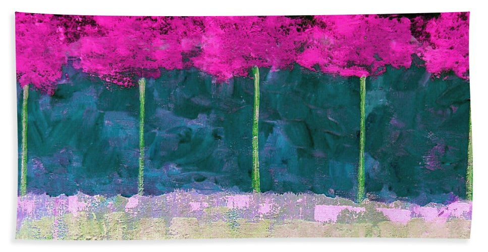 Abstract Beach Towel featuring the painting Fuschia Trees by Ruth Palmer