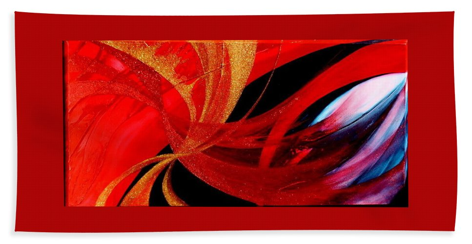 Beach Towel featuring the painting Fusion by Kumiko Mayer
