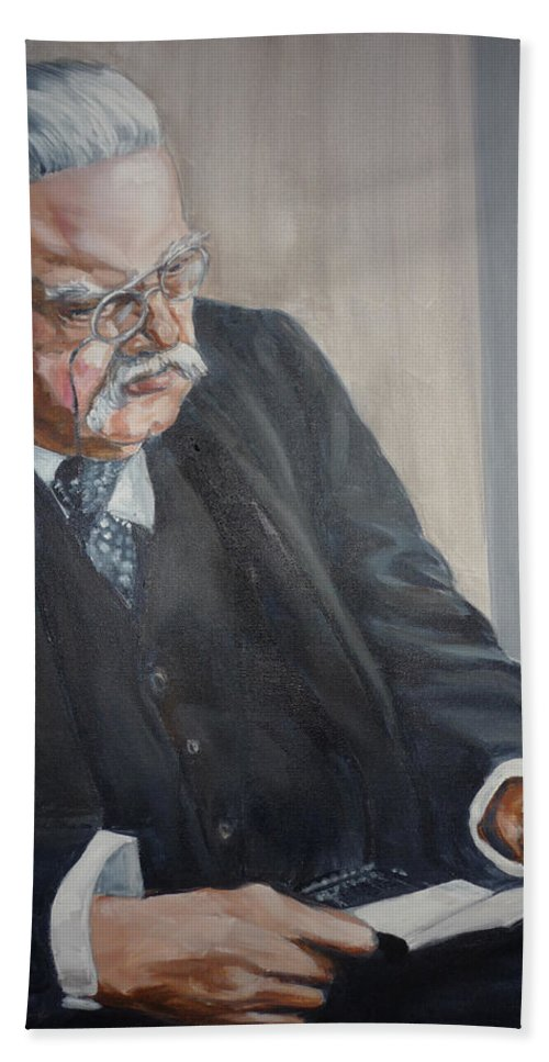 Chesterton Author Catholic Beach Towel featuring the painting G K Chesterton by Bryan Bustard