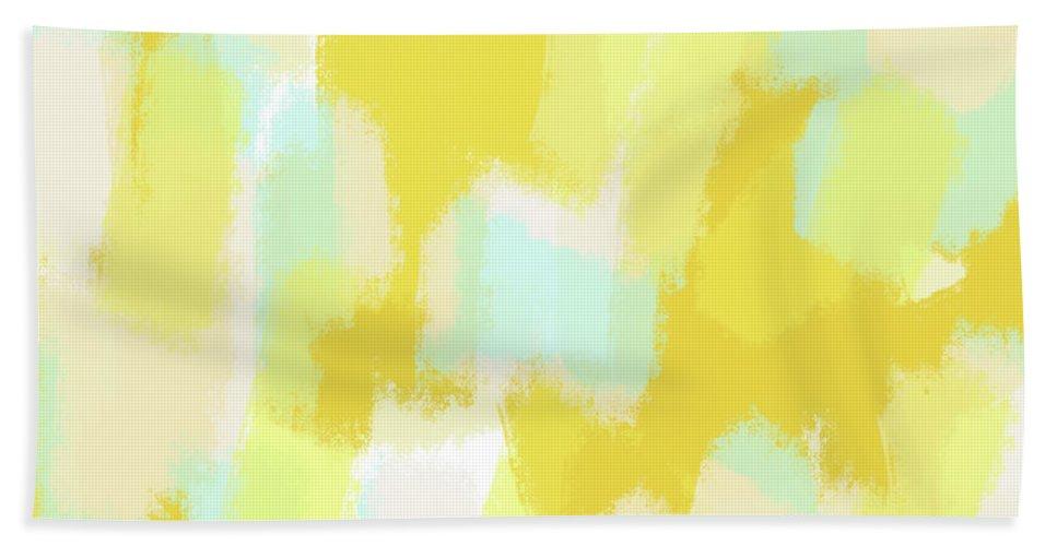 Beach Towel featuring the digital art Gabi - Sunny Yellow Abstract digital painting by Allyson Johnson