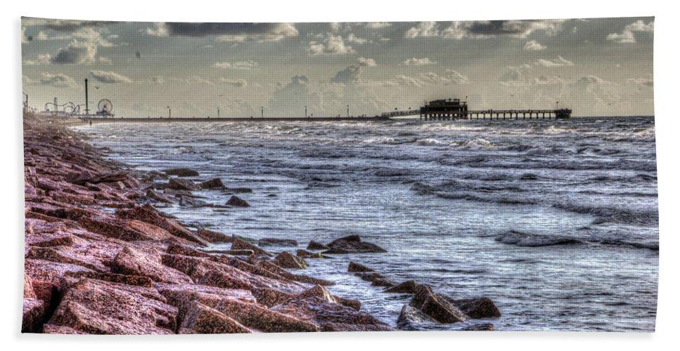 Galveston Beach Towel featuring the photograph Galveston's Piers by Doc Hafferty