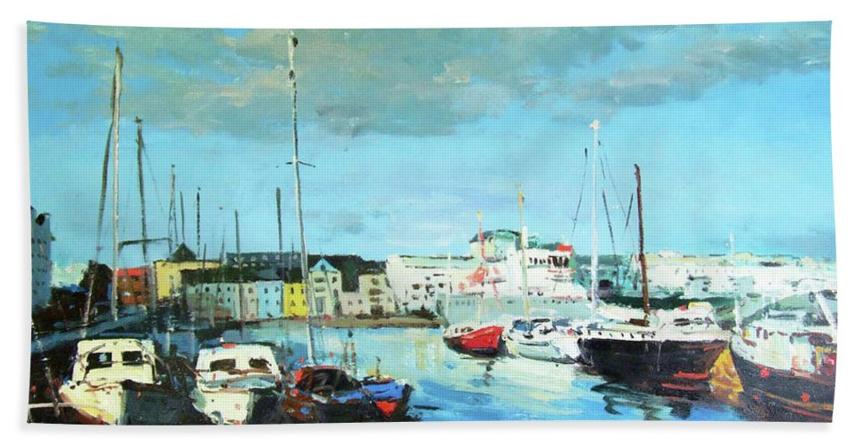 Galway Beach Towel featuring the painting Galway Docks by Conor McGuire