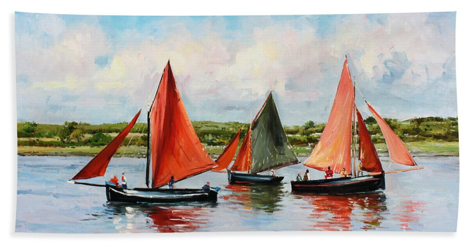 Galway Hooker Beach Towel featuring the painting Galway Hookers by Conor McGuire