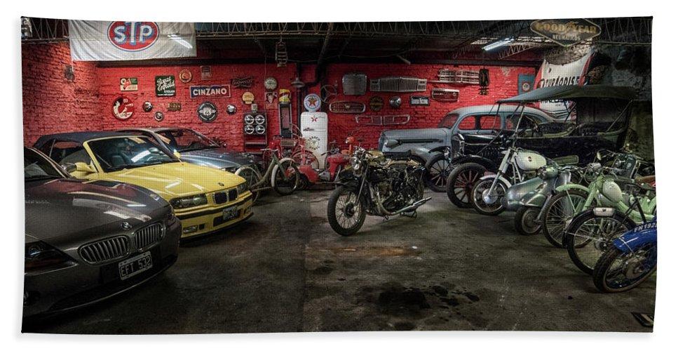 Garage Beach Towel featuring the photograph Garage by Hans Wolfgang Muller Leg