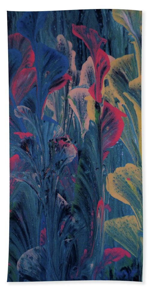 Acrylic Beach Sheet featuring the painting Garden At Dusk by Diana Robbins