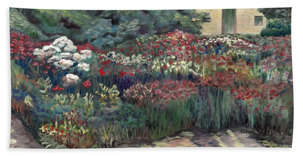Breck Beach Towel featuring the painting Garden At Giverny by Nadine Rippelmeyer