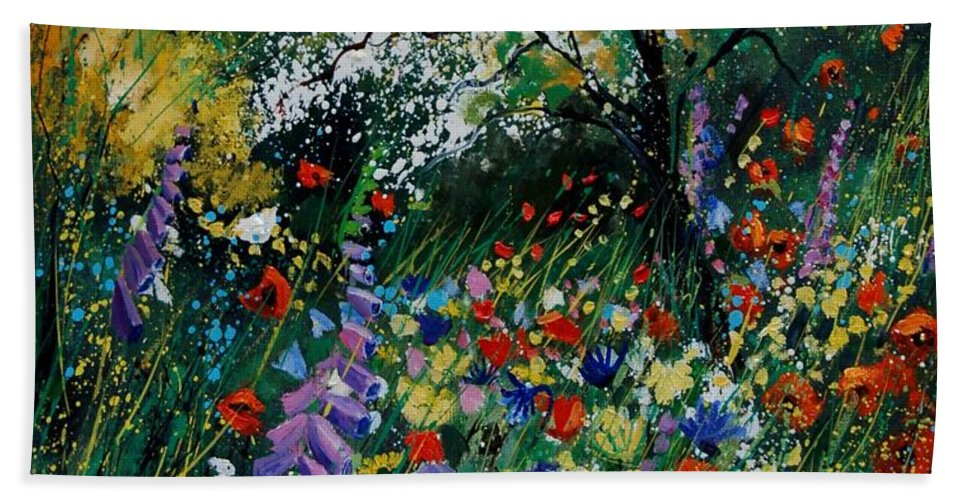Flowers Beach Sheet featuring the painting Garden Flowers by Pol Ledent